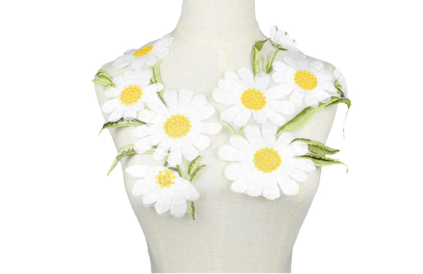 Large New White Daisy Floral Patch Embroidery Lace  Applique Sew on. DIY Clothes  Dress Rose Collar Embroidered Fabric Sticker