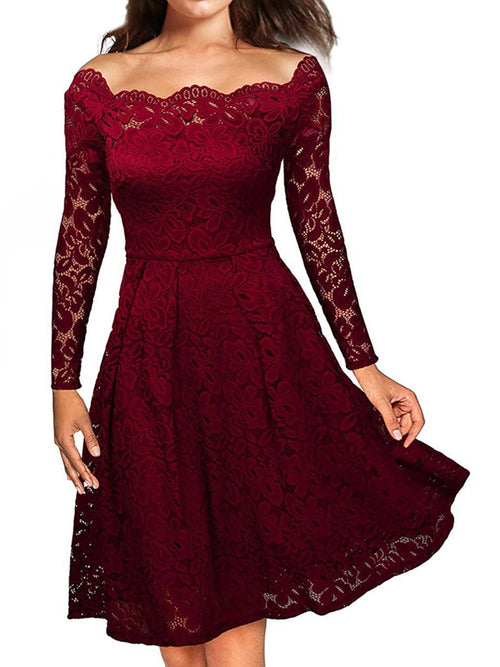 LaceShe Vintage Floral Lace Long Sleeve Cocktail Dress