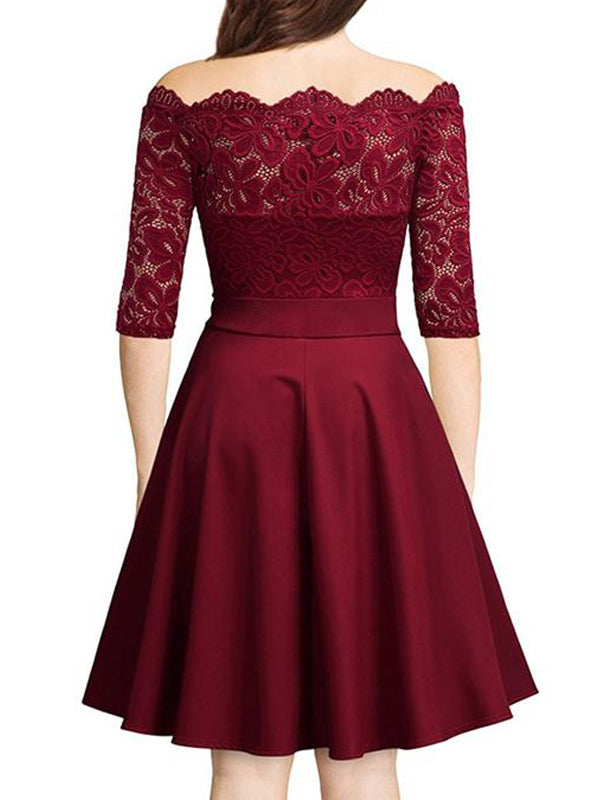 LaceShe Floral Cocktail Bateau Half Sleeves Lace Dress