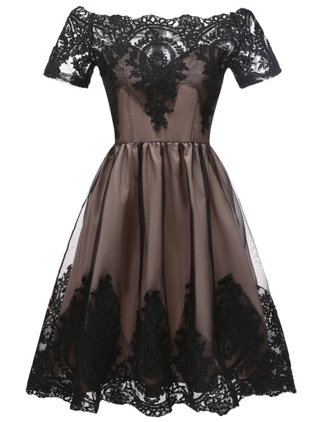 LaceShe Women's Vintage Floral Lace Round Collar Dress
