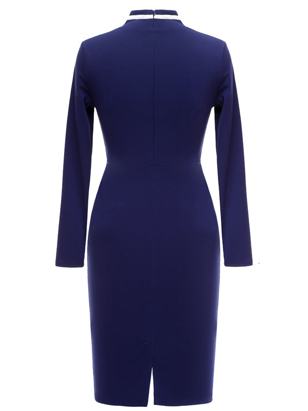LaceShe Women's Classy Vintage Navy Style Sheath Pencil Dress