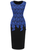 LaceShe Women's Vintage Floral Lace Wear to Work Formal Pencil Dress