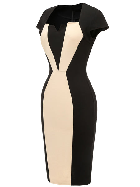 LaceShe Women's Colorblock Notched Neck Pencil Dress with Belt