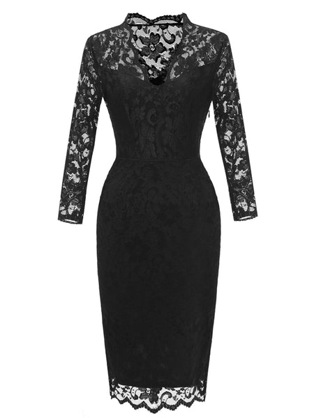 LaceShe Women's V-Neck Sheath Lace Pencil Dress