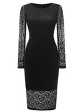 LaceShe Women's Gorgeous Floral Lace Pencil Dress