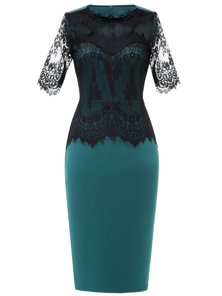 LaceShe Women's Sexy Floral Lace Net Sheath Pencil Dress