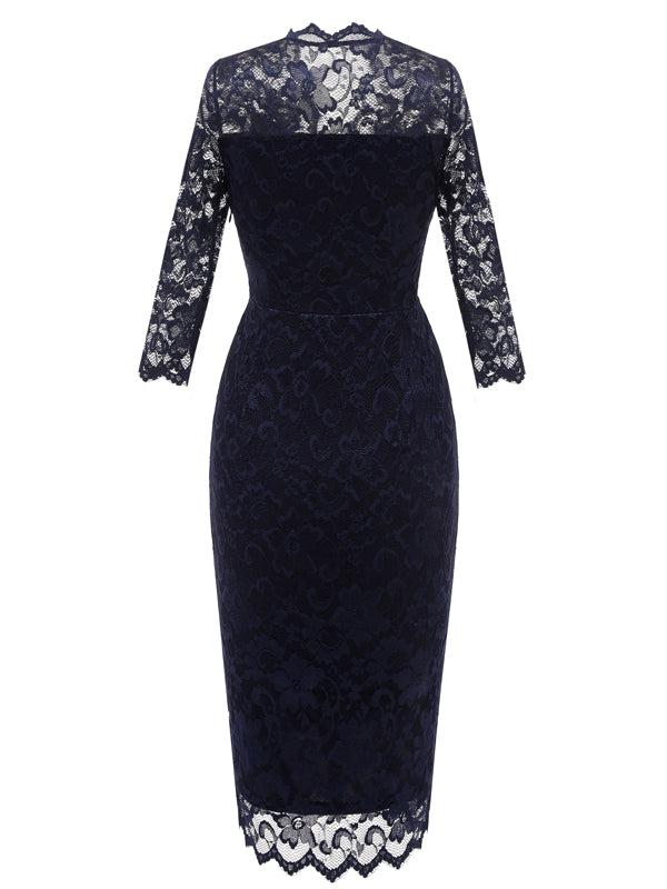LaceShe Women's Lace Sheath Half Sleeve Pencil Dress