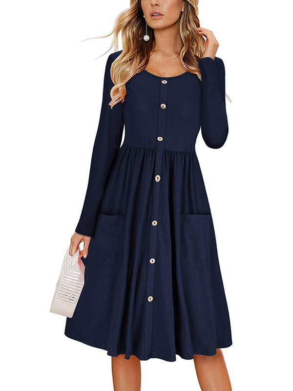 Laceshe Women's Decorative Button Solid Color Causal Dress with Pockets