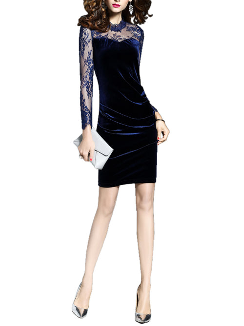 Laceshe Women's Floral Lace Sleeve Velvet Fall Winter Dress