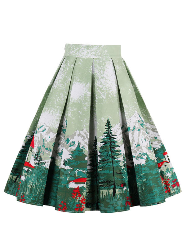 Laceshe Women's Pleated Christmas Skirt