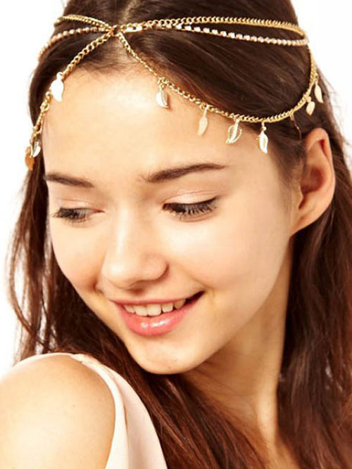 LaceShe Women Diamond Chain Leaf Multi-Layer Tassel Hairband