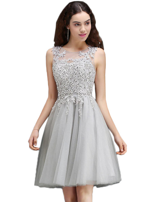 LaceShe Women's Lace Tulle Stitching Homecoming Dress