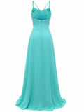 LaceShe Women's Chiffon Spaghetti Bridesmaid Dress