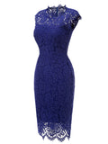 LaceShe Women's Vintage Floral Lace Sleeveless Pencil Dress