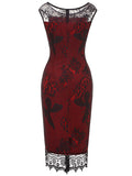 LaceShe Women's Floral Lace Net Pencil Dress