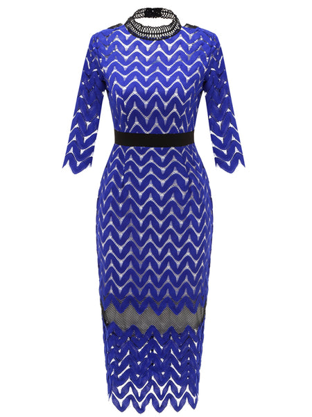LaceShe Women's V-Neck Pencil Dress with Lace Sleeves