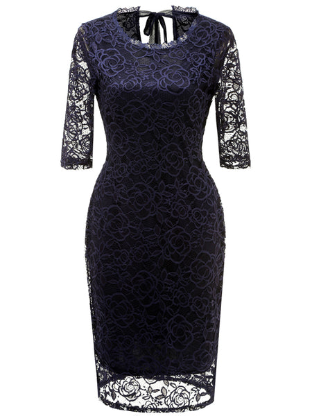 LaceShe Women's Elegant Cocktail Party Midi Pencil Dress