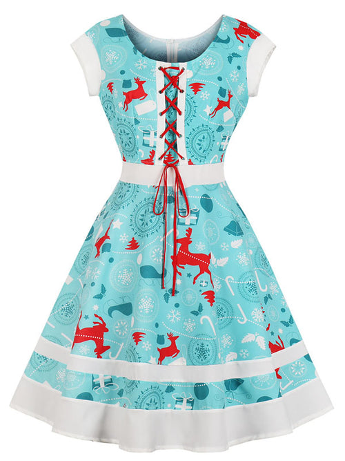 Laceshe Women's Christmas Lace up Vintage Dress