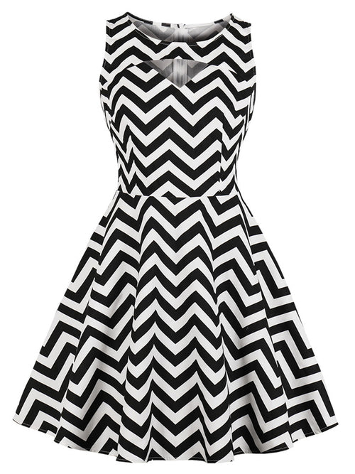 Laceshe Women's Sleeveless Striped Print Vintage Dress