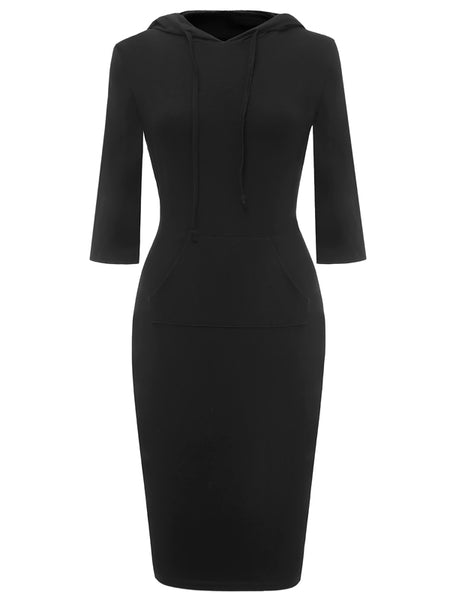 LaceShe Women's 3/4 Sleeve Pencil Dress with Kangaroo Pockets