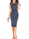 LaceShe Women's Sleeveless Wave Point Pencil Dress