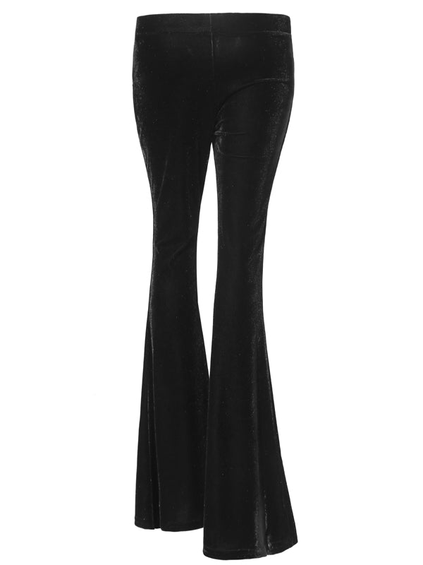 LaceShe Women's Comfy Velvet Flare Wide Leg Bell Bottom Pants