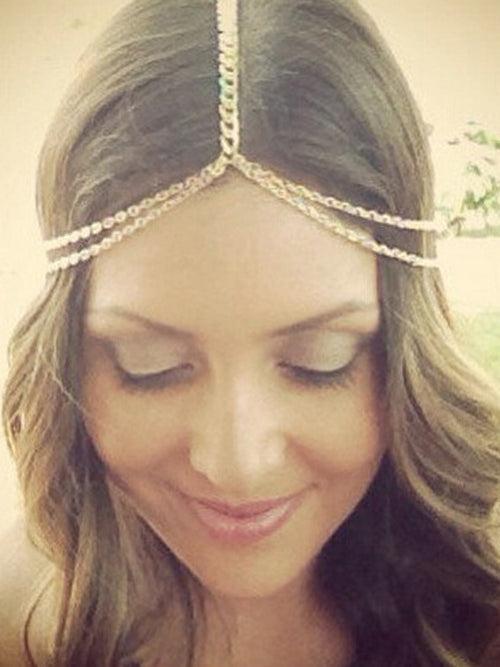 LaceShe Women Metal Chain Tassel Hair Accessories
