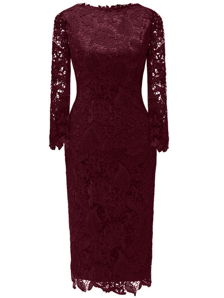 Laceshe Women's Floral Lace Long Sleeve Bodycon Cocktail Dress