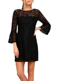 LaceShe Women's Horn Sleeve Comfortable Lace Dress