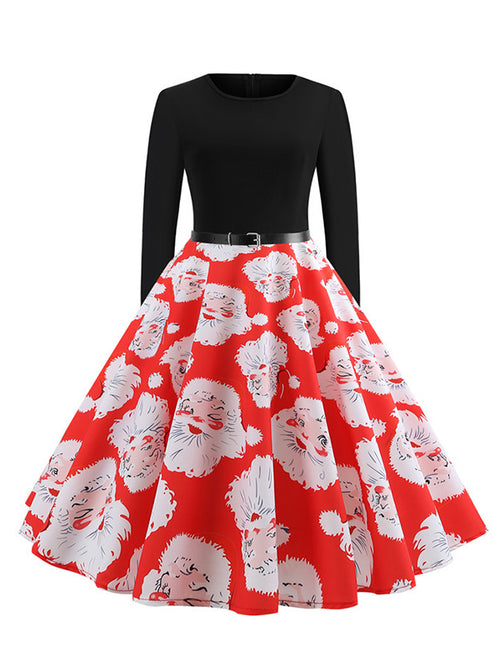 Laceshe Women's Pleated Christmas Santa Print Vintage Dress