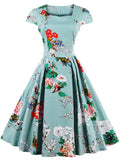 LaceShe Women's Vintage Classic Floral Short Sleeve Dress