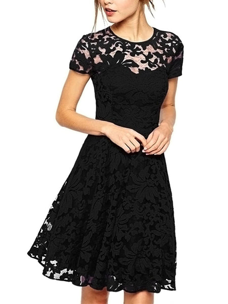 LaceShe Women's Comfy Short Sleeve Lace Dress