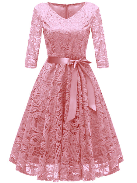 LaceShe Women's Vintage Lace Floral Party Casual Dress