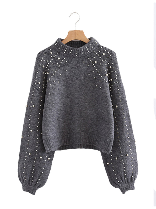 Laceshe Women's Long Sleeve Beaded Knit Sweater