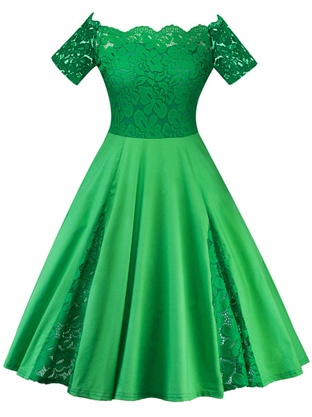 LaceShe Women's Multiple Color Stitching Lace Dress