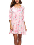 LaceShe Pink Floral Cross Mini Dress
