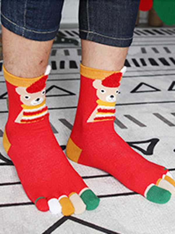 Laceshe Christmas Theme 4 Pairs Cute Socks with Box