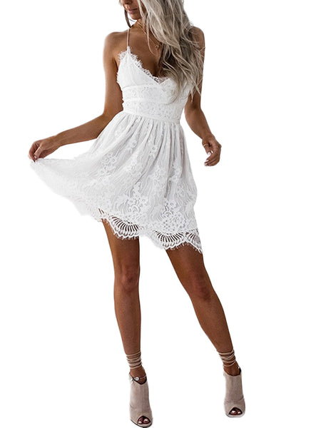 LaceShe women's V-neck lace sleeveless Summer Dress