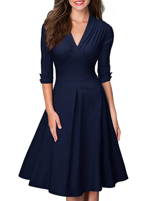 LaceShe Women's Deep-V Neck Vintage Cocktail Dress