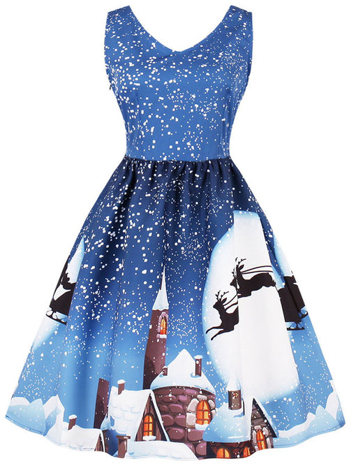 LaceShe Women's Christmas Themed Sleeveless Vintage Dress