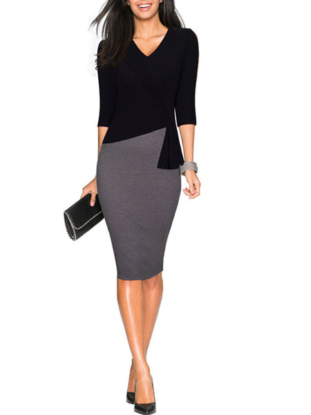 LaceShe Women's Gorgeous V-Neck Pencil Dress