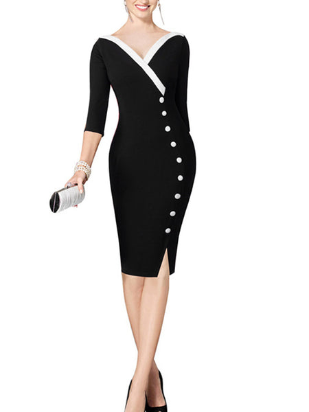 LaceShe Women's 3/4 Sleeve Stitching V-Neck Pencil Dress
