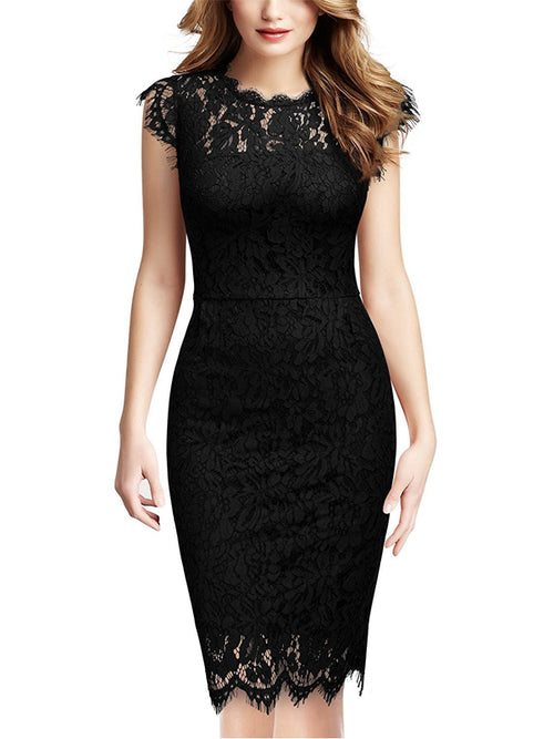 LaceShe Women's Retro Lace Slim Cocktail Mini Dress