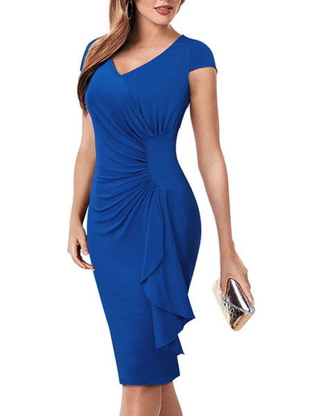 LaceShe Women's Sheath V-Neck Short Sleeve Pencil Dress