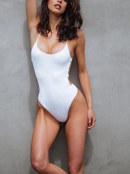LaceShe Solid Color One-piece Swimsuit