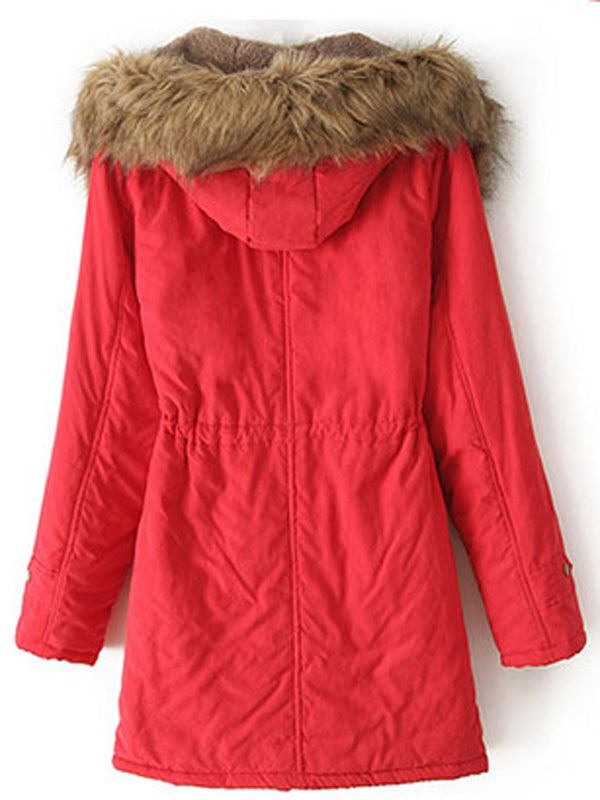 Laceshe Women's Fur Hooded Fall Winter Outerwear