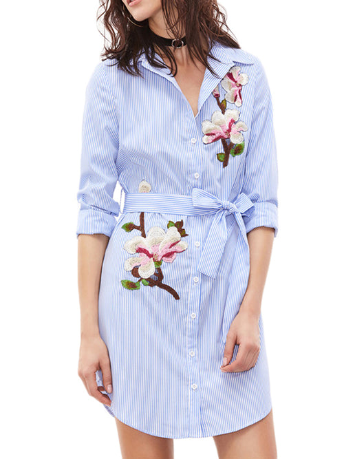 LaceShe Women's Long Sleeve Floral Casual Dress