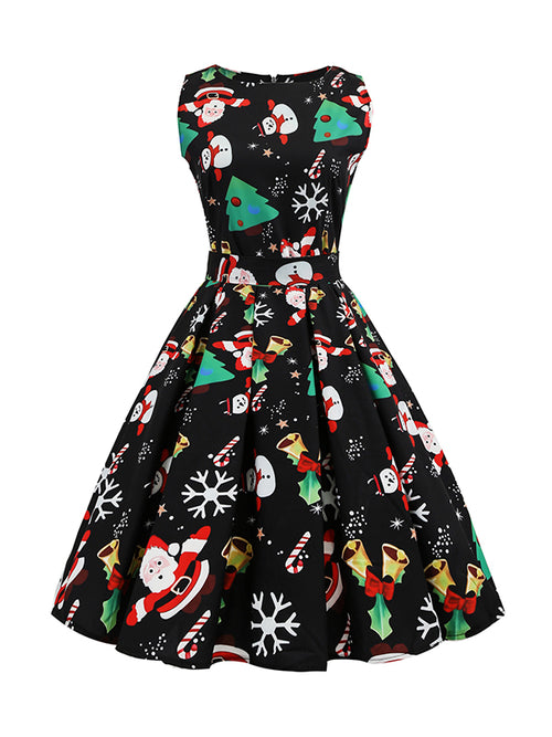 Laceshe Women's Retro Christmas Party Vintage Dress