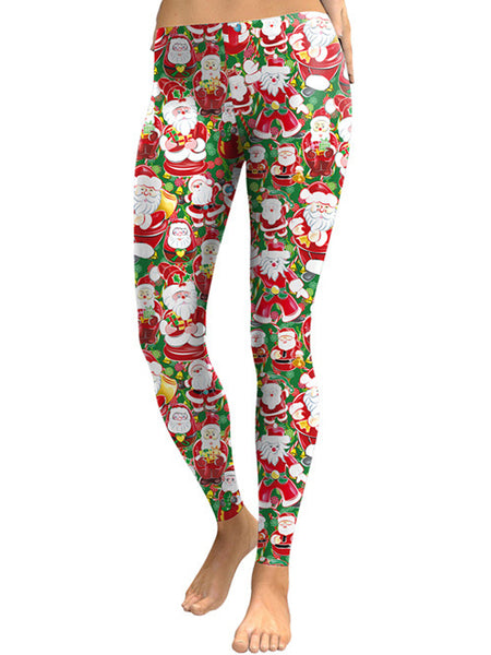 Laceshe Women's Christmas Theme Party Costume Leggings