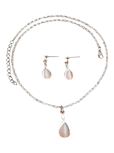 LaceShe Women's Pearl White Jewelry Sets Fashion Pearl Necklace Earrings